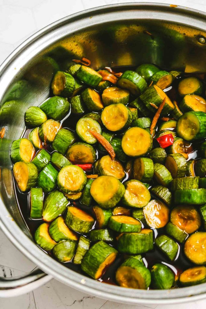 cucumbers simmered in soy sauce marinade