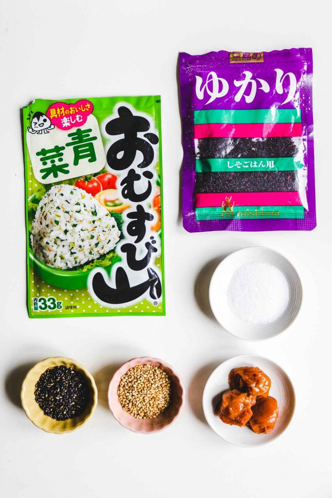 japanese rice ball seasoning furikake, umeboshi salt and sesame seeds