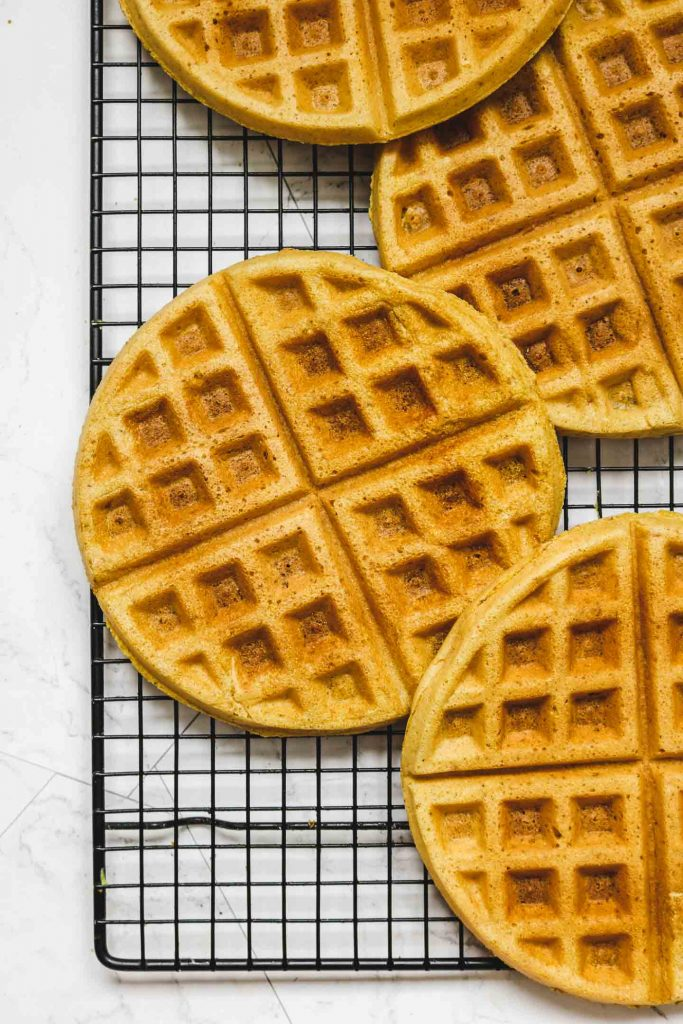 vegan cornbread waffles on cooling rack