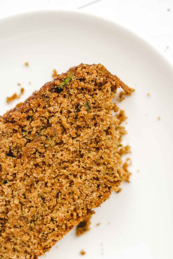close up shot of eggless zucchini bread