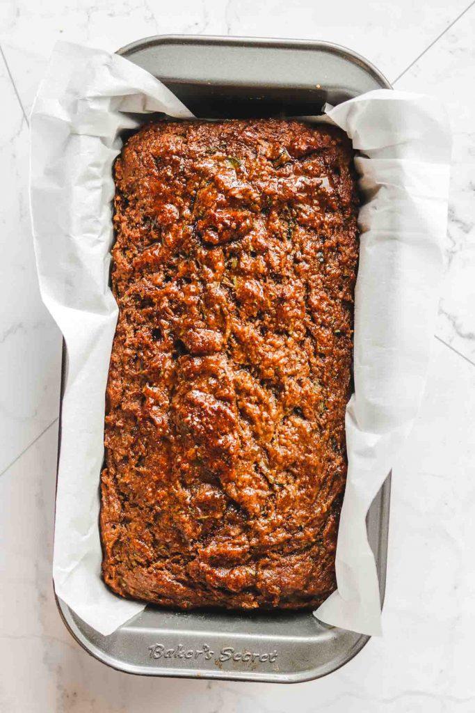 vegan gluten free zucchini bread in a loaf pan
