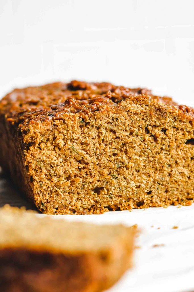 close up shot of eggless zucchini bread