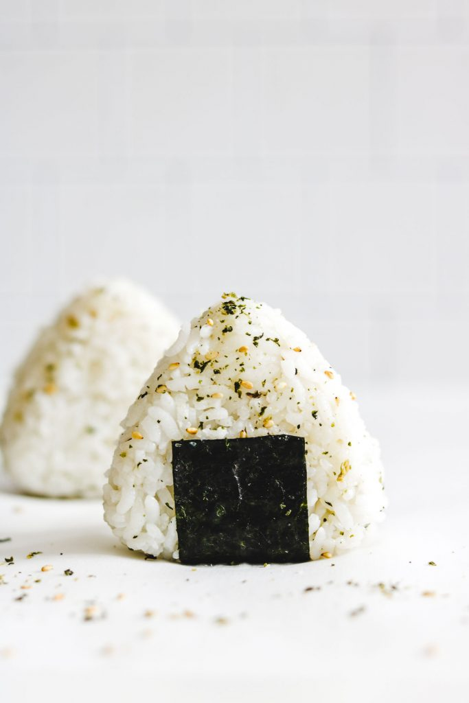 seasoned rice ball with nori down the middle