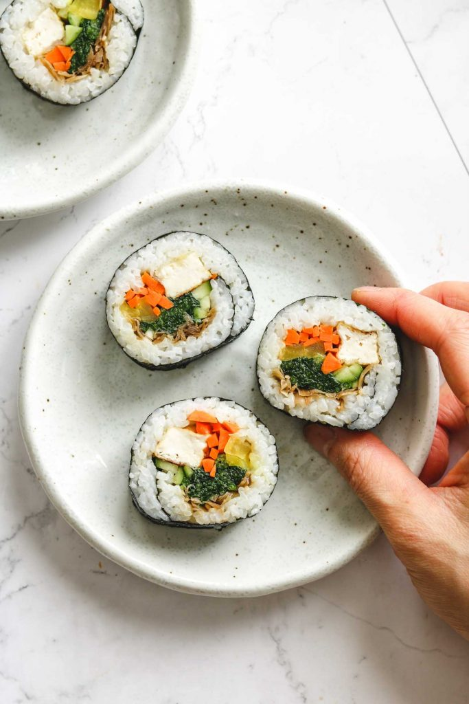 vegetable kimbap on white plate