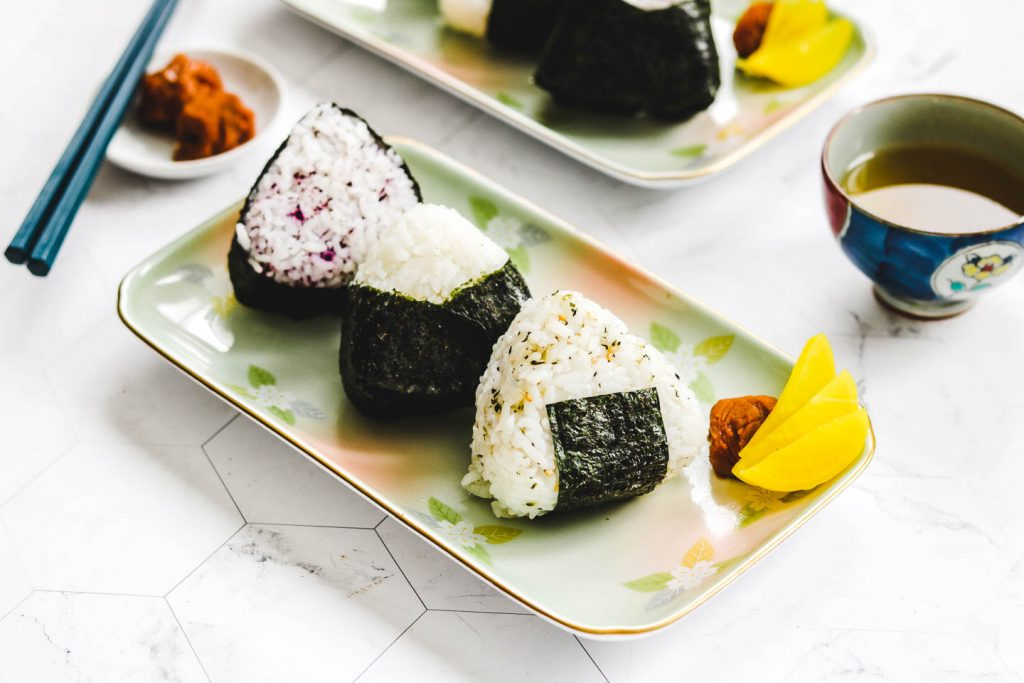 vegan onigiri on a rectangle plate landscape photo