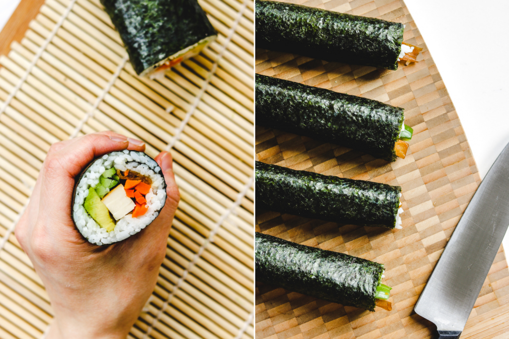 step by step on how to cut sushi rolls