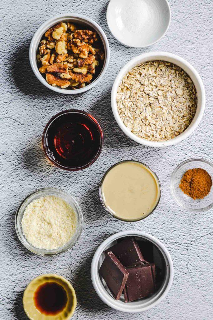Air Fryer Tahini Chocolate Chunk Oatmeal Cookies ingredients in bowls