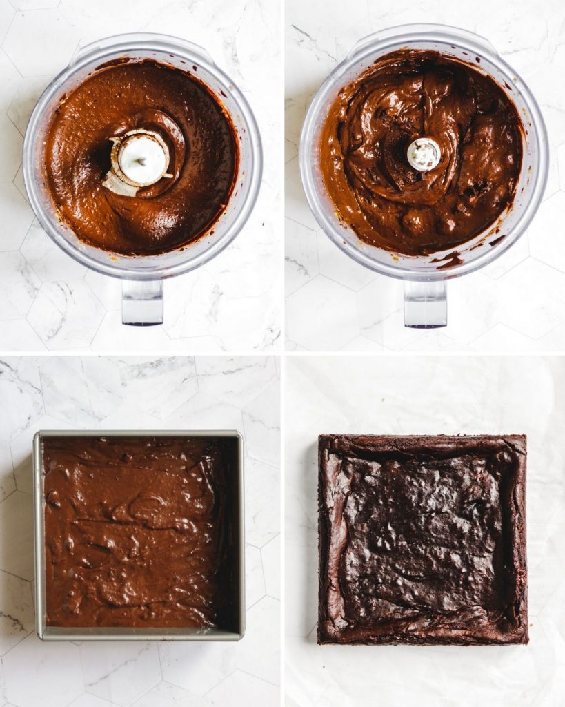 process steps of how to make Vegan Flourless Pumpkin Brownies