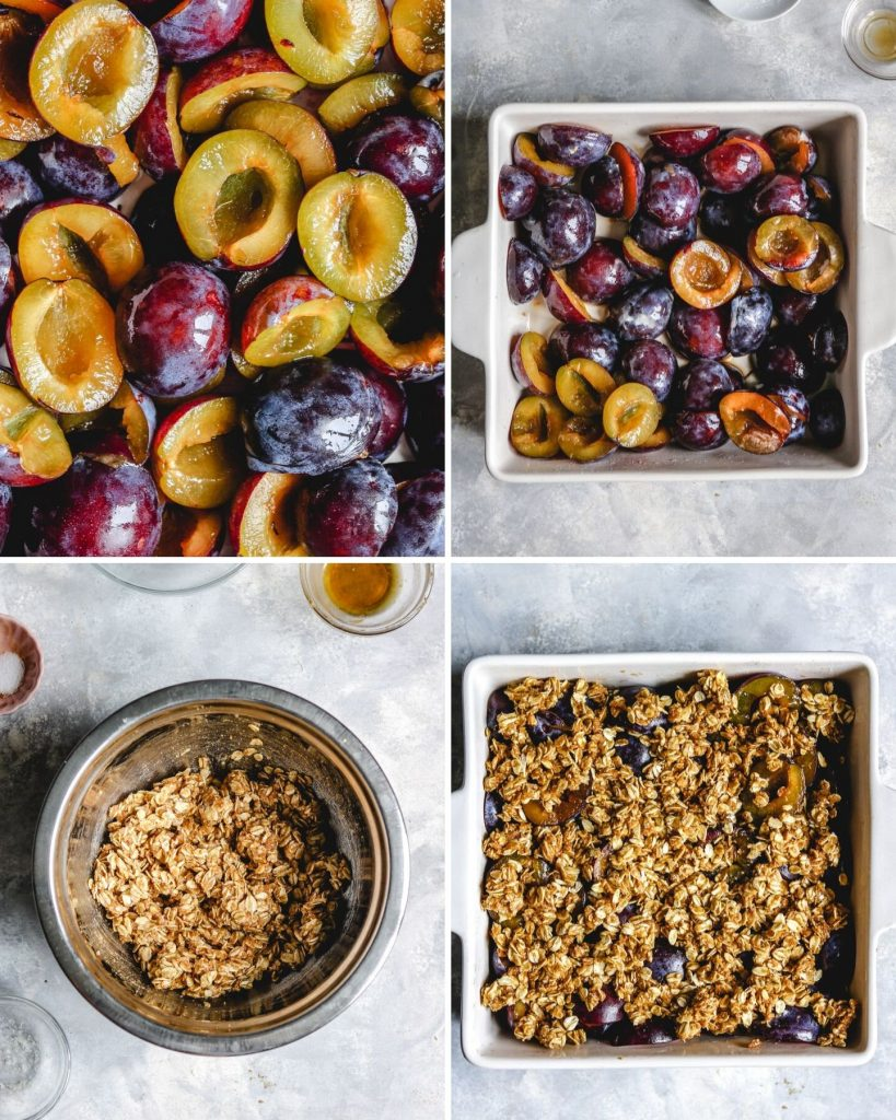 process shots of how to make gluten free plum crisp