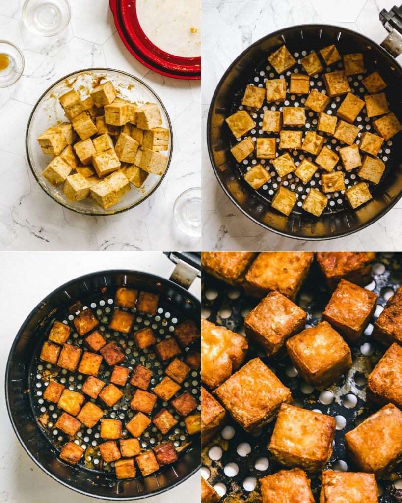 flavoured extra firm tofu in air fryer basket