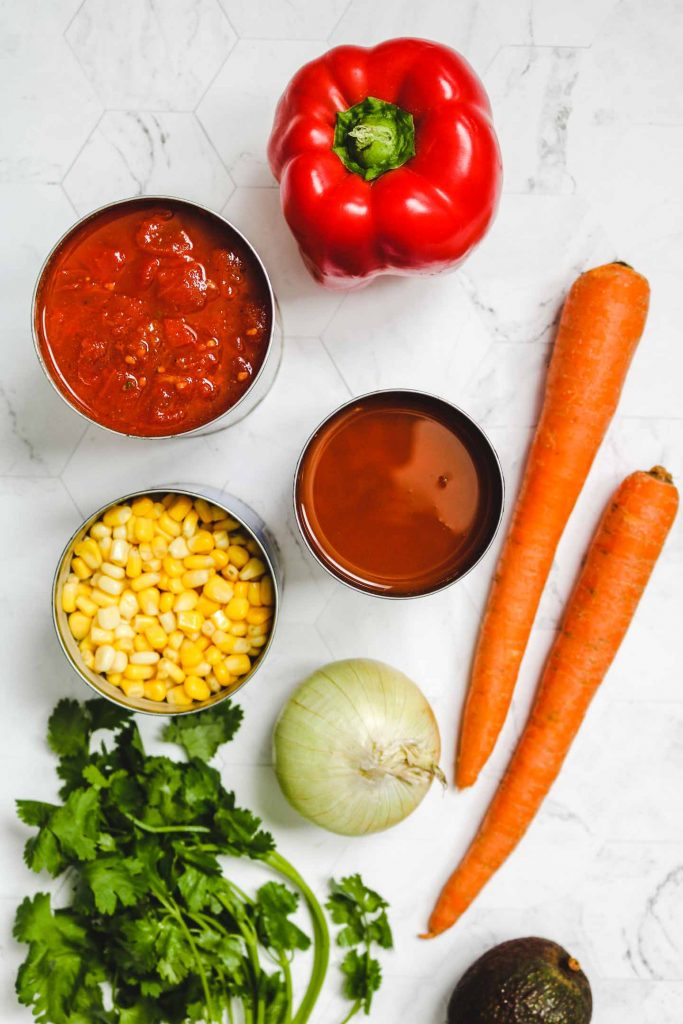 Instant Pot Vegan Chili ingredients laid out