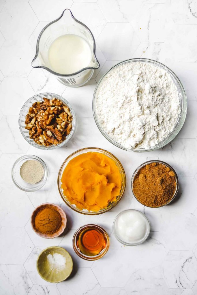vegan gluten free pumpkin cinnamon roll ingredients layed out