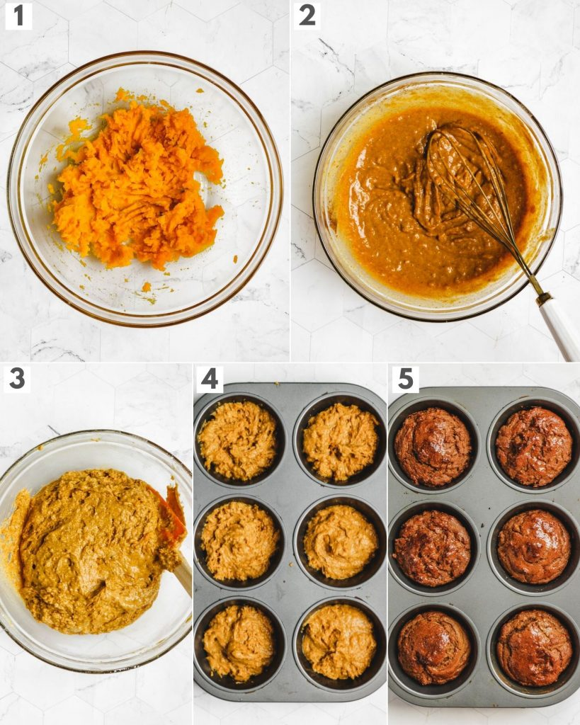 step by step how to make vegan gluten free pumpkin muffins