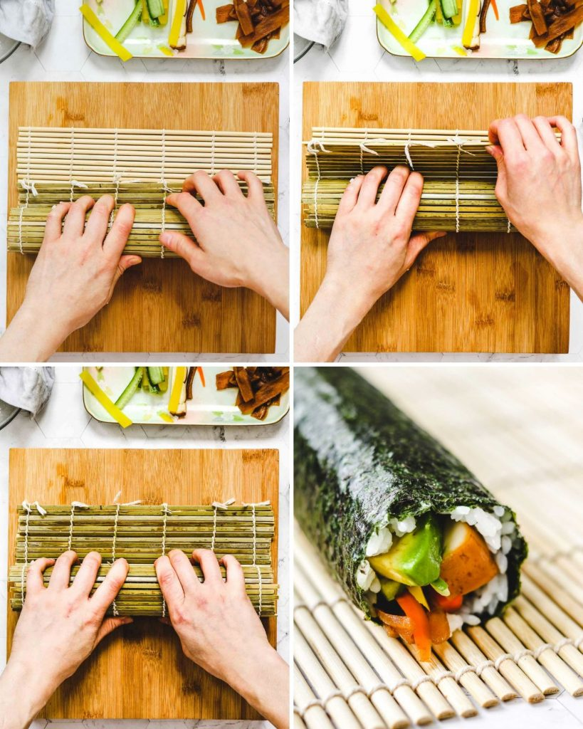 step by step on how to roll sushi rolls