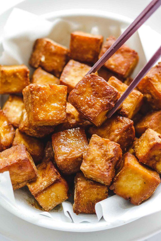 close up shot of crispy tofu