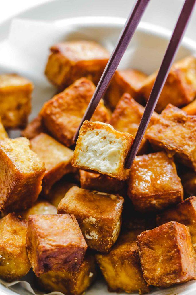 close up bite shot shot of crispy tofu