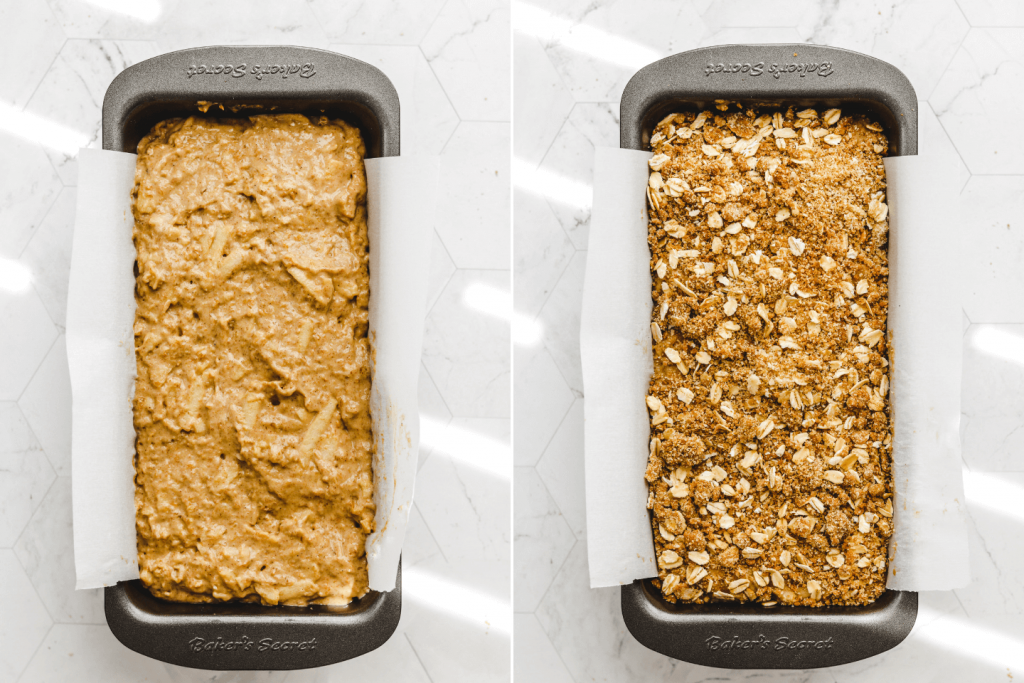 apple quick bread in the loaf pan with and without the crumb topping