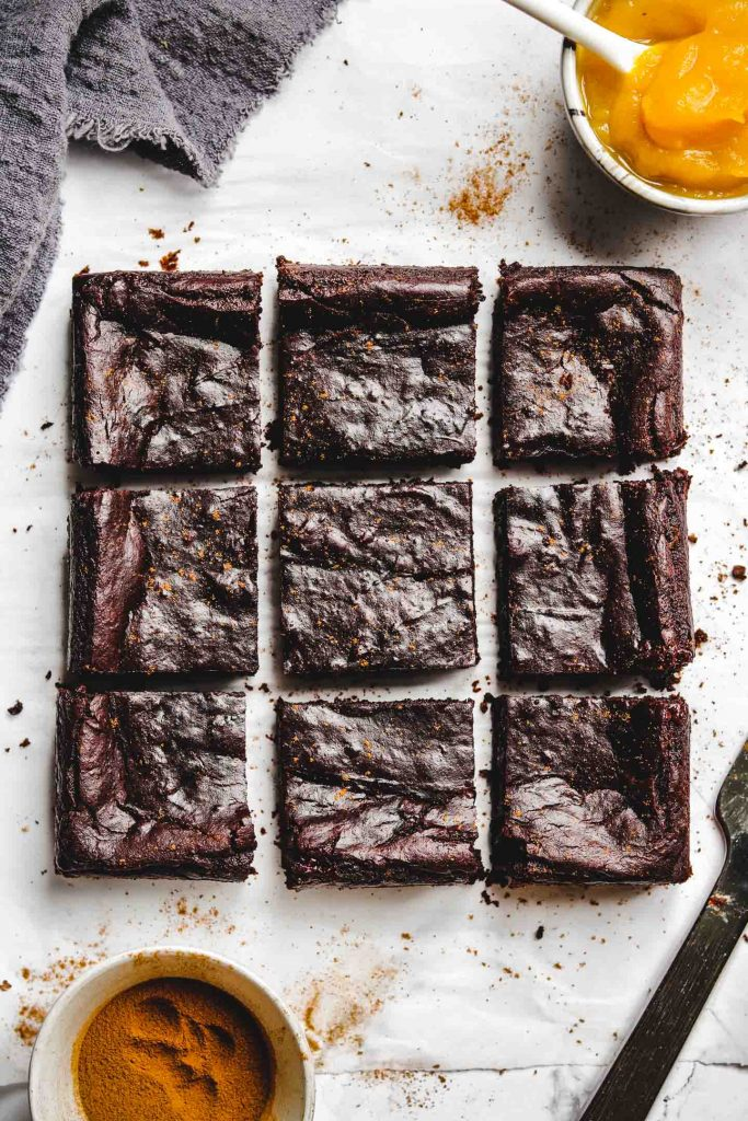 Vegan Flourless Pumpkin Brownies cut up
