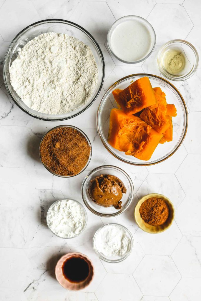 ingredients laid out for healthy vegan pumpkin muffins