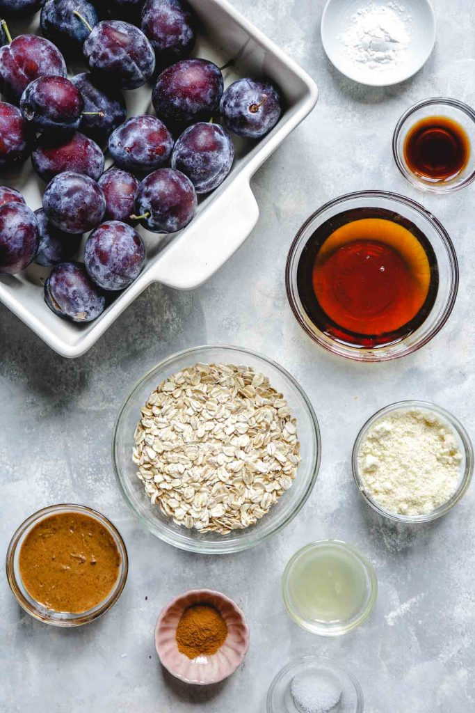 ingredients laid out for plum crisp