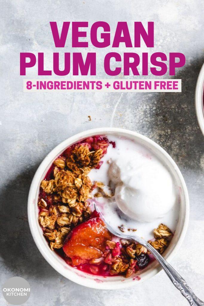 vegan gluten free plum crisp pinterest image