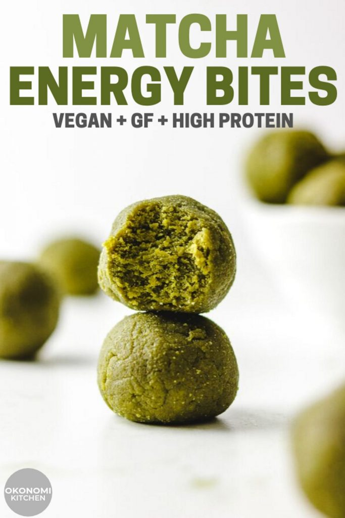matcha energy ball close up stacked on each other pinterest