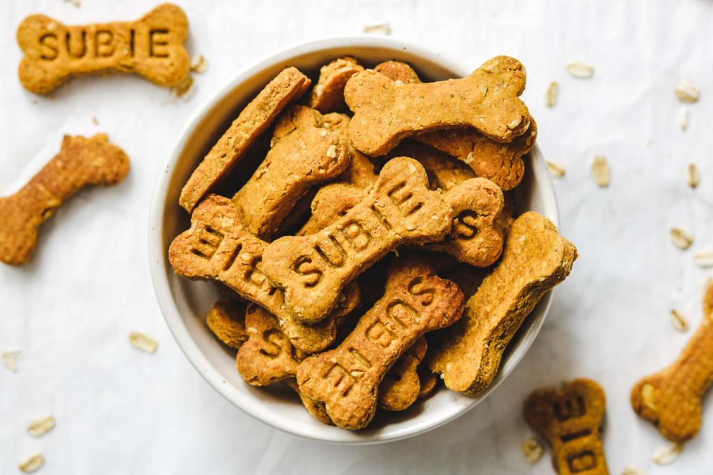 vegan pumpkin dog treats in a bowl
