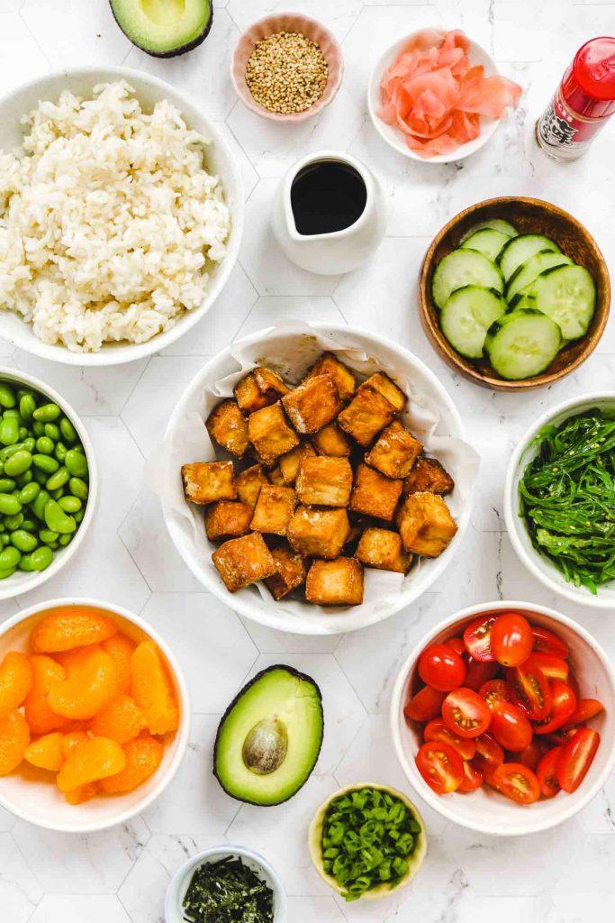 vegan tofu poke bowl ingredients