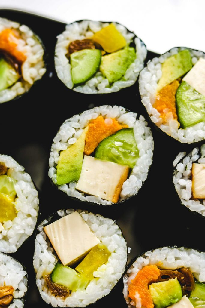 vegan take away sushi rolls in a box