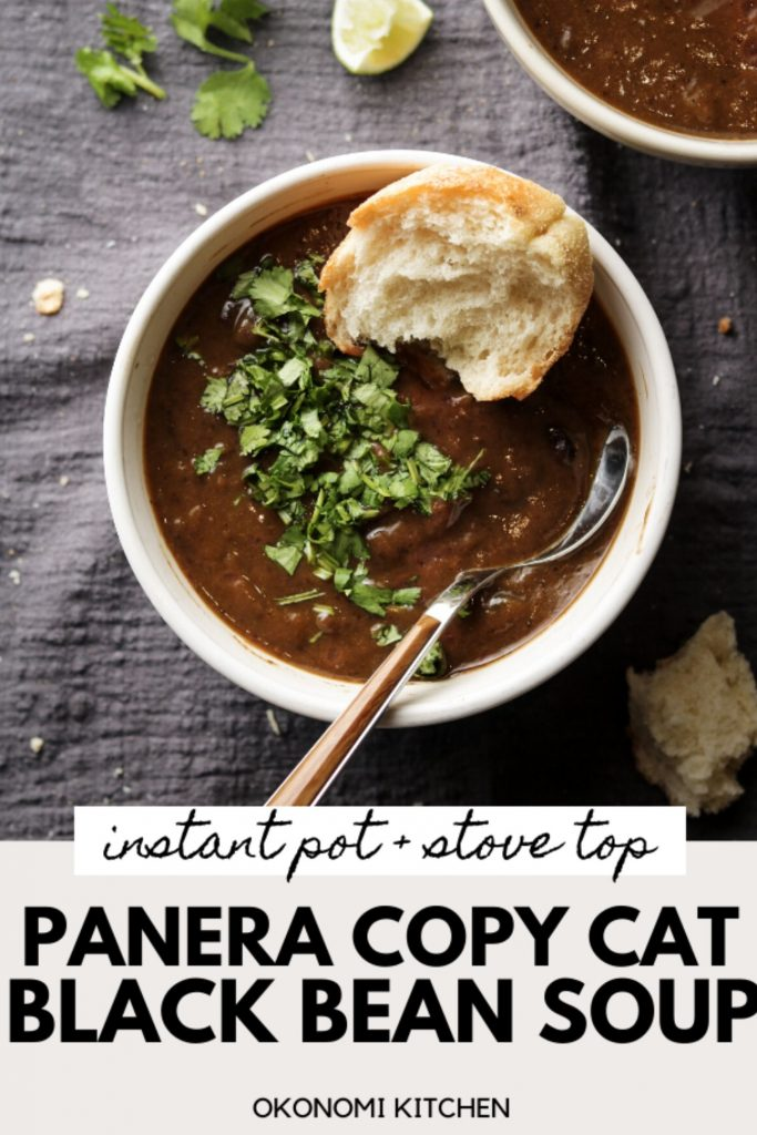 panera copy cat soup in a white bowl with pinterest text