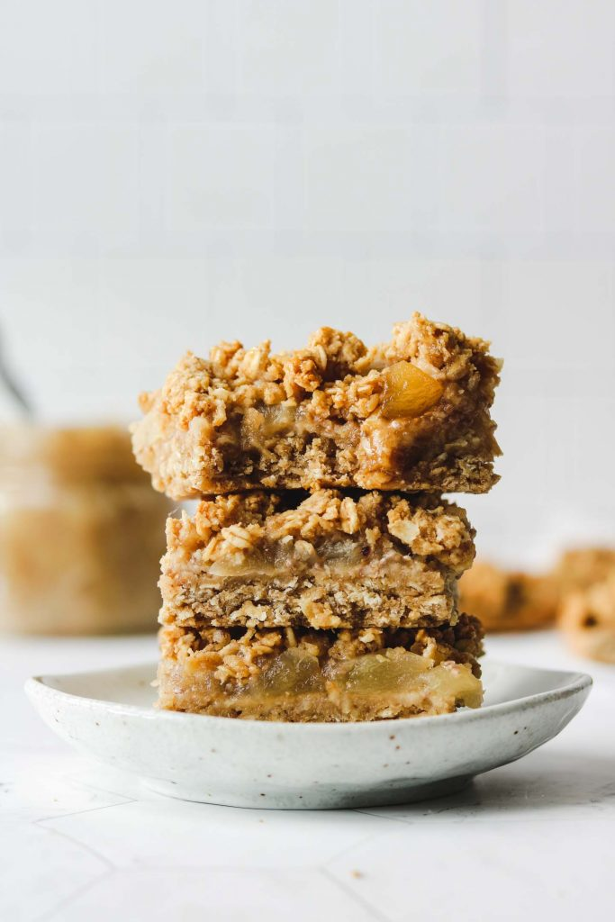 3 apple crumble bars stacked
