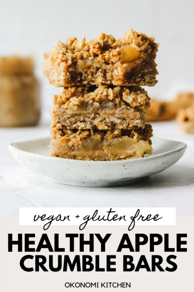 vegan gluten free apple crumb bars on a plate for pinterest image