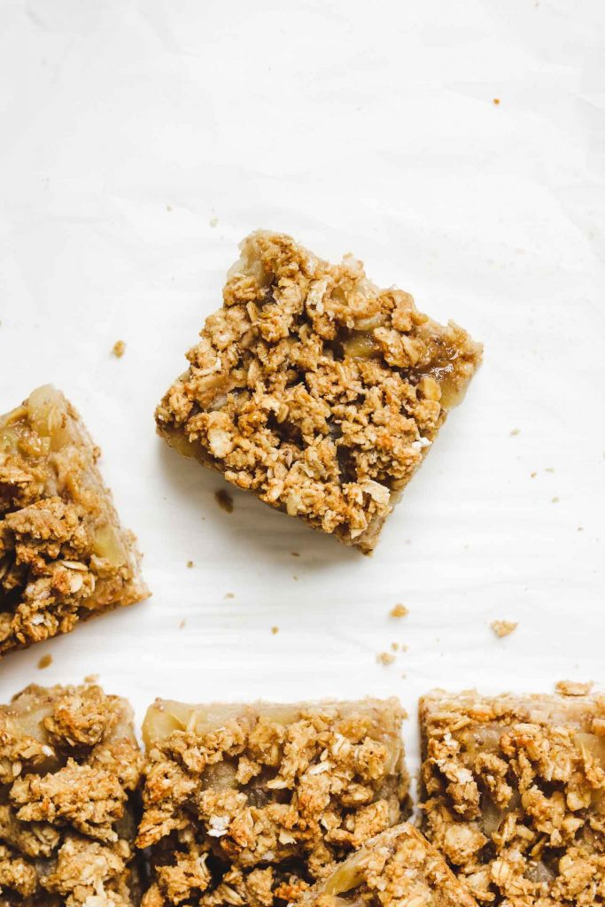 apple pie square with crumble topping cut out