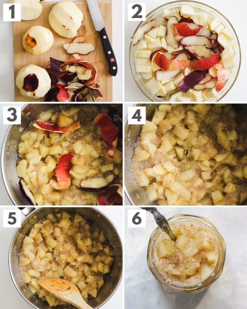 process shots on how to make apple chia jam