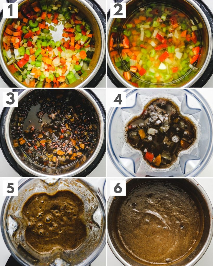 step by step photos of making homemade black bean soup