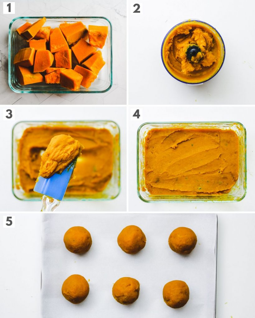 process shots of making sweet pumpkin paste filling