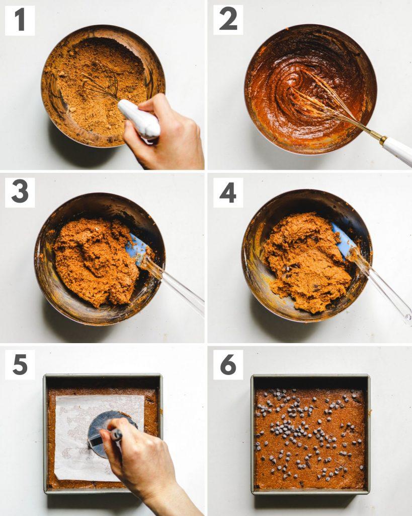 how to make vegan chocolate chip pumpkin blondie step by step