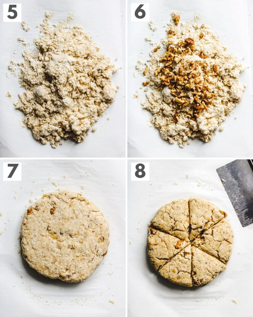 step by step how to make, roll and cut vegan scones