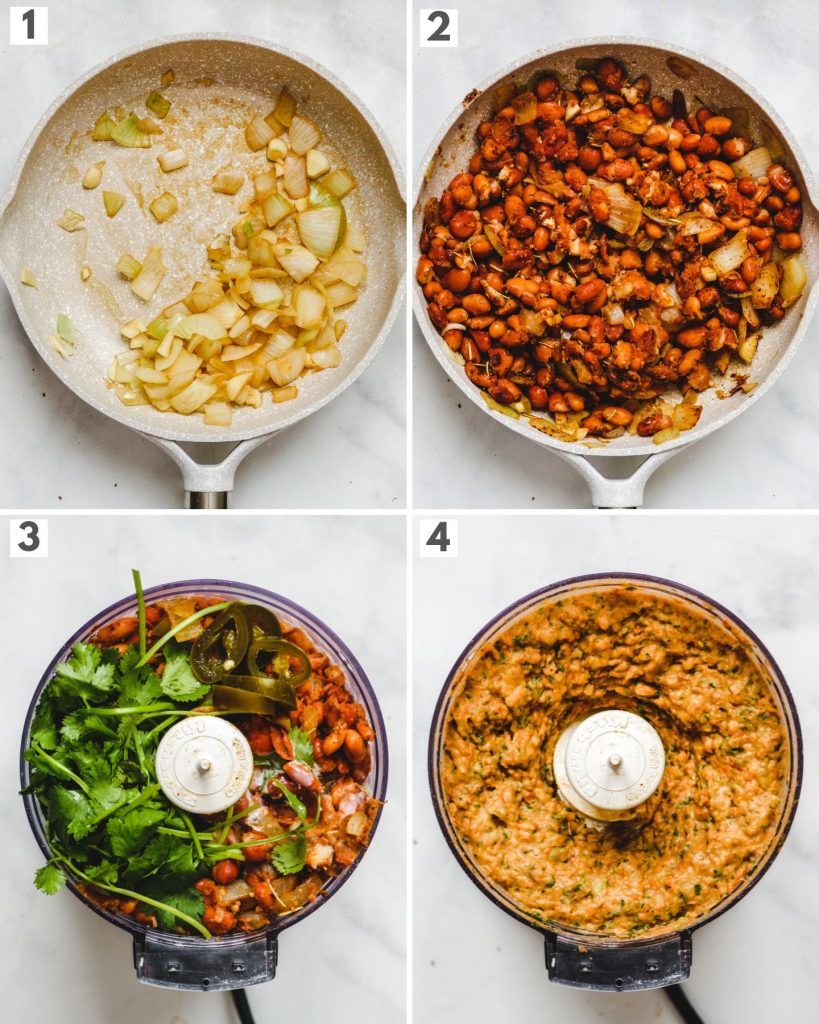 step by step images of how to make vegan refried bean dip