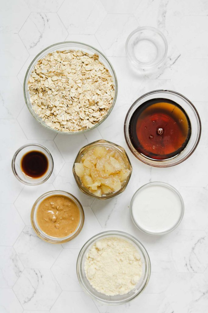 ingredients for healthy apple crumble bars laid out