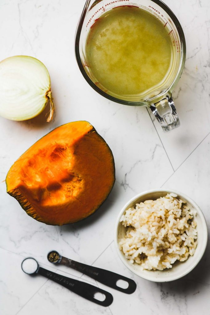kabocha soup with brown rice ingredients