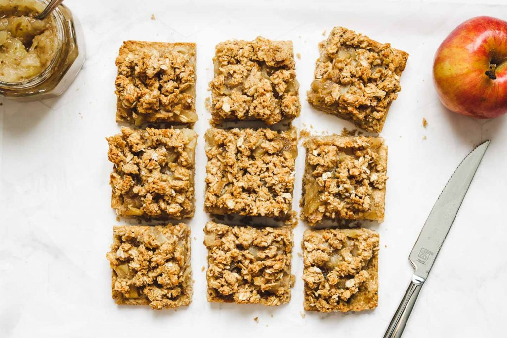 apple pie bars with apple jam and oatmeal crumble cut into squares land scape photo