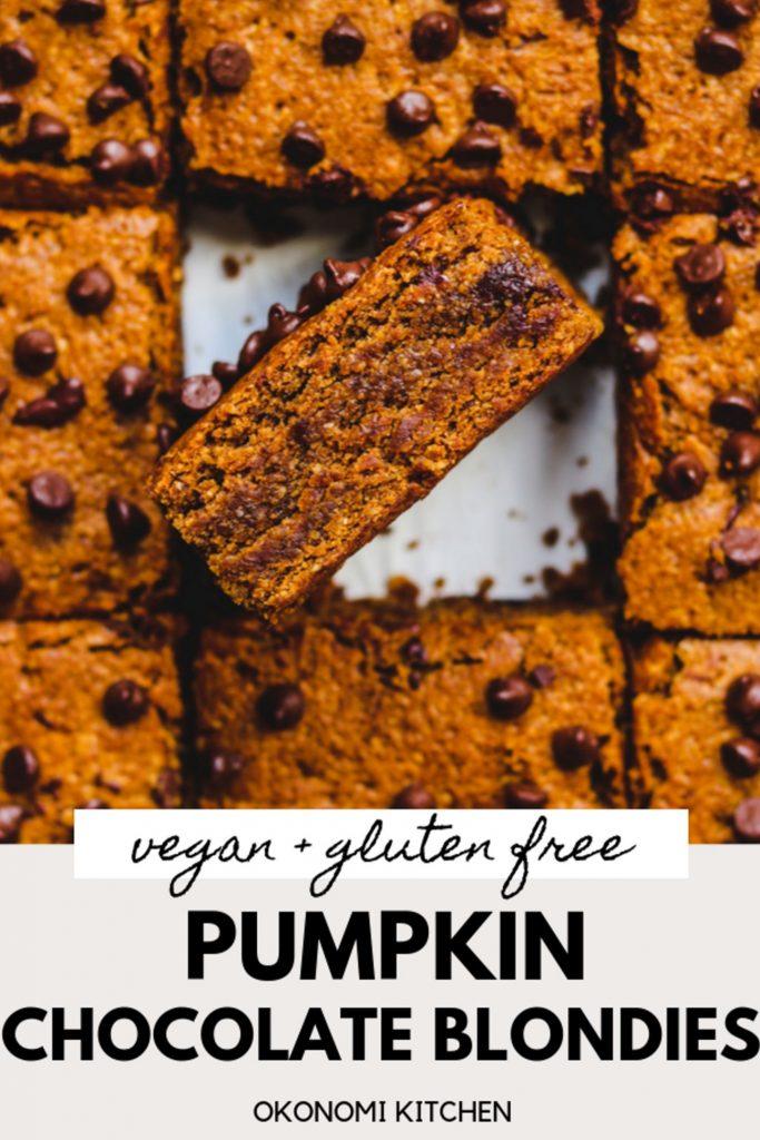 vega  gluten free pumpkin blondies pinterest image