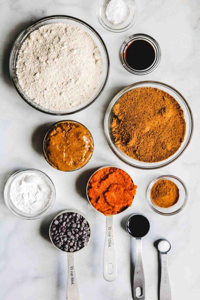 ingredients for pumpkin chocolate chip blondies