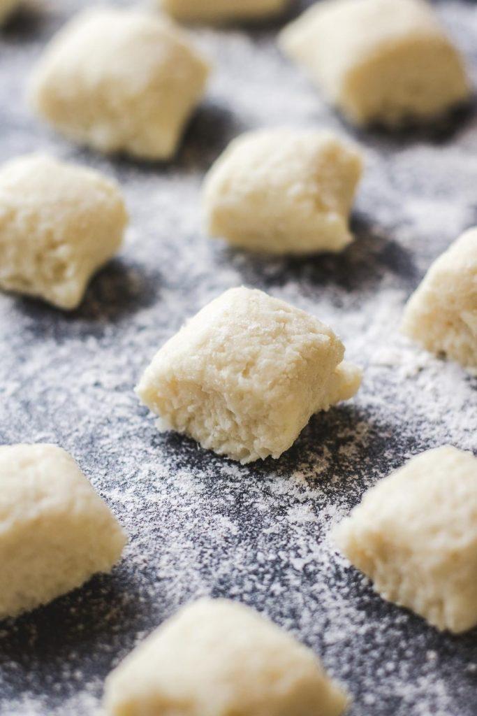 cauliflower gnocchi on a floured surface