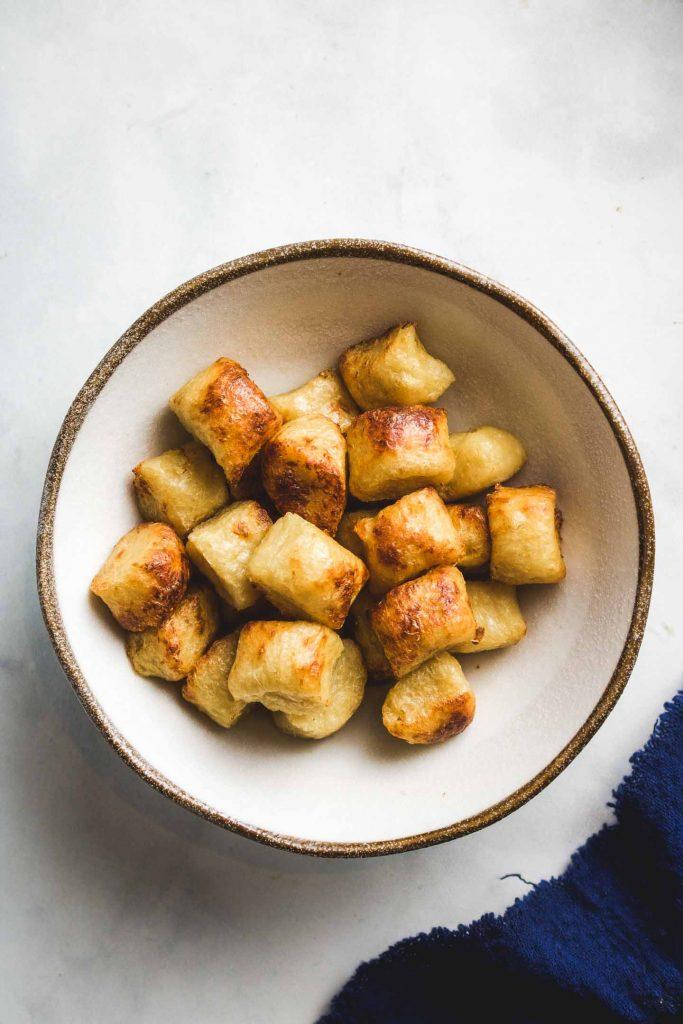 baked cauliflower gnocchi in a bowl