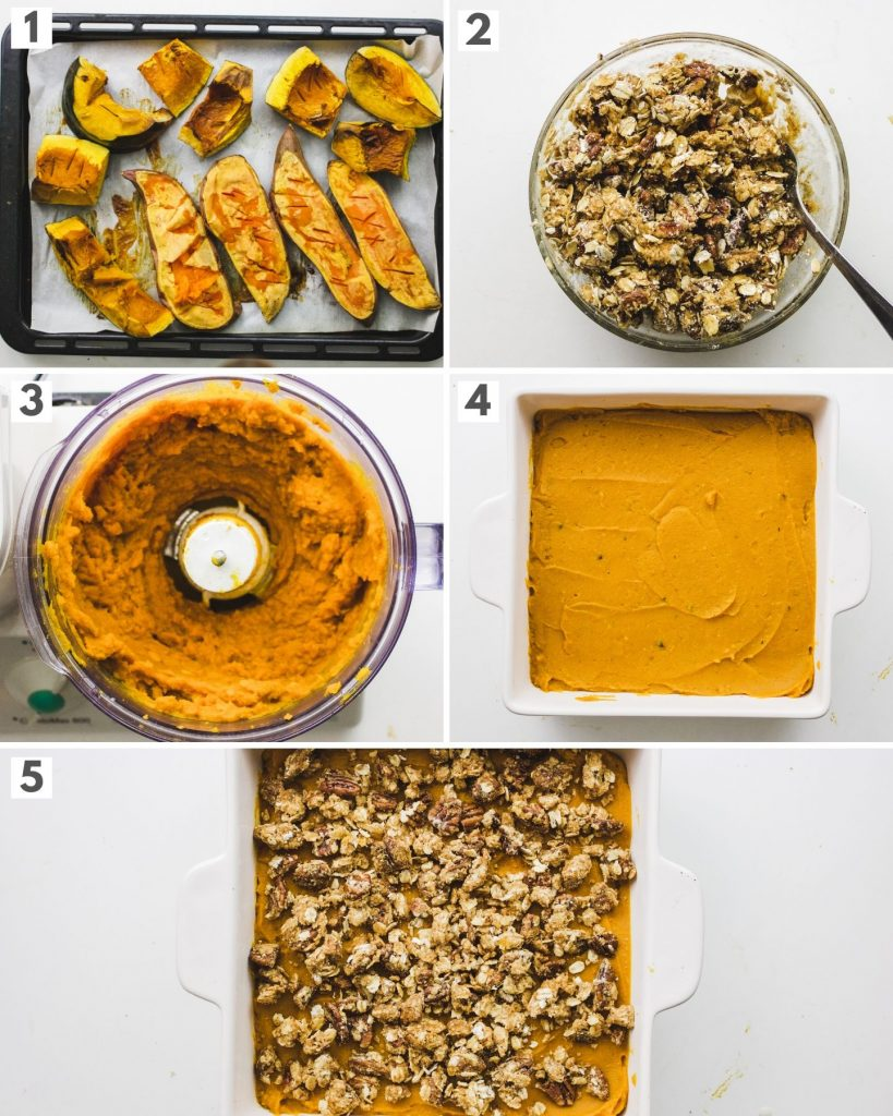 how to make squash sweet potato casserole with pecan crumble