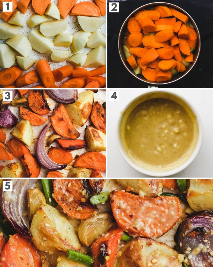 step by step how to roast root vegetables oil free