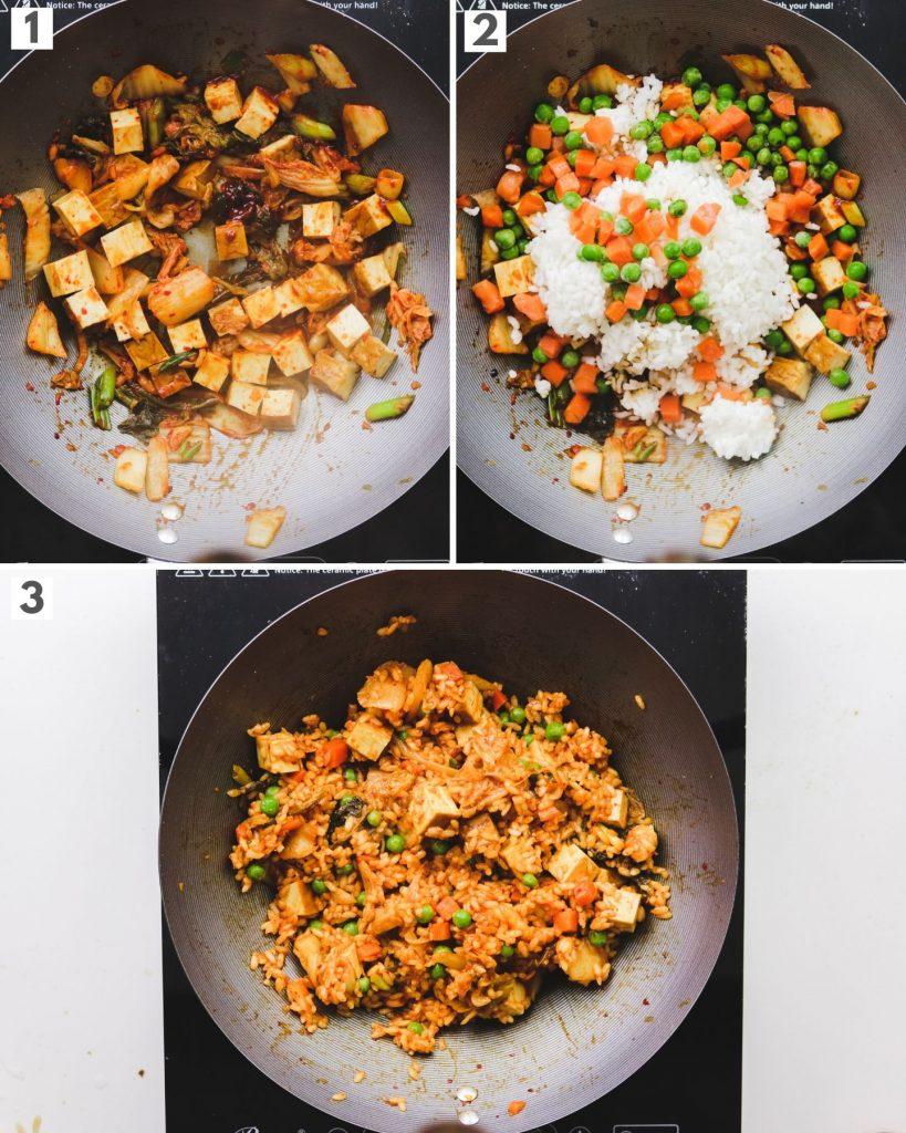 process steps on how to make vegan kimchi fried rice