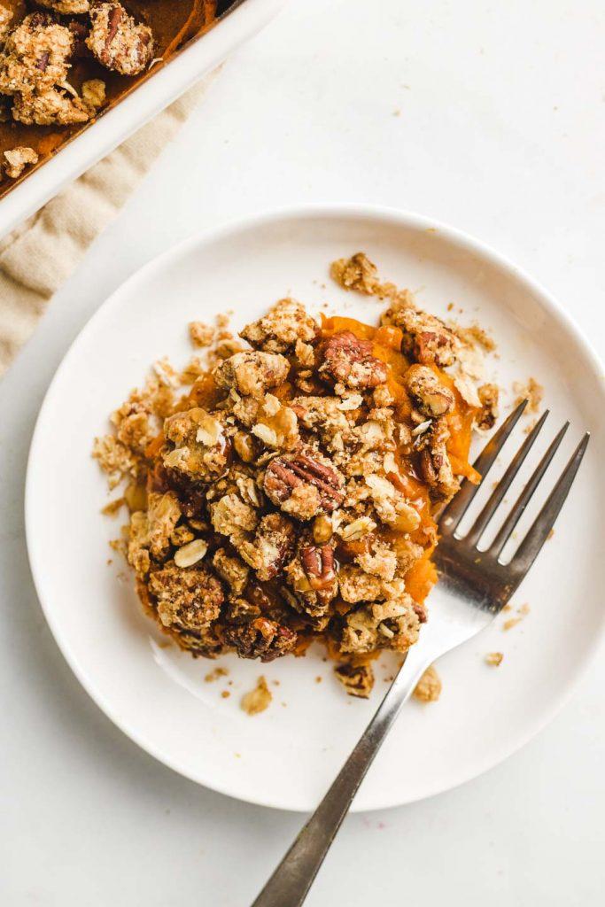 vegan kabocha sweet potato casserole plate